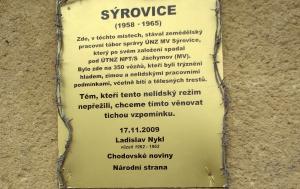 Sýrovice. Pamětní deska vězňům zemědělského pracovního tábora