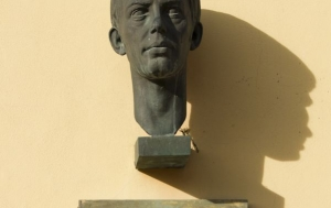 Vítkov. Pamětní deska a busta Jana Zajíce
