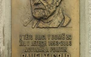 Praha 1. Pamětní deska Pavlu Tigridovi