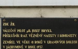 Olomouc. Pamětní deska Josefu Bryksovi