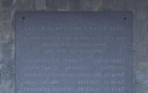 Olešnice. Pamětní deska obětem politického procesu z roku 1953