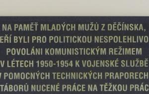 Děčín. Pamětní deska Pomocným technickým praporům