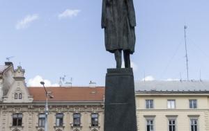 Olomouc. Pamětní nápis na Památníku národního osvobození a TGM