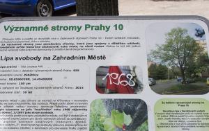 Praha 10. Pamětní deska u Lípy svobody