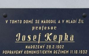 Břasy-Vranovice. Pamětní deska Josefu Kepkovi