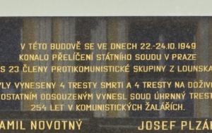 Louny. Pamětní deska obětem protikomunistického odboje