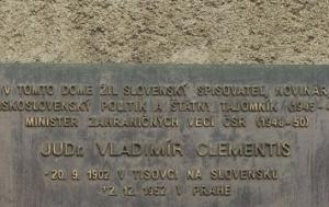Praha 6. Pamětní deska Vladimíru Clementisovi