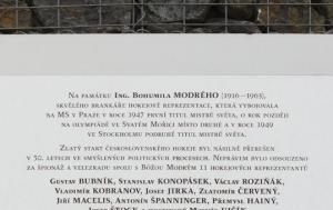 Praha 9.  Pamětní deska Bohumilu Modrému a perzekvovaným hokejistům