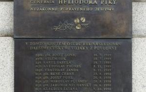 Praha 6. Pamětní desky Heliodoru Píkovi a vojákům z povolání popraveným v letech 1949–1955