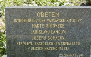 Prostějov. Pamětní deska obětem intervence vojsk Varšavské smlouvy