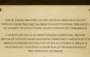 Praha 2. Pamětní deska perzekvovaným vysokoškolákům