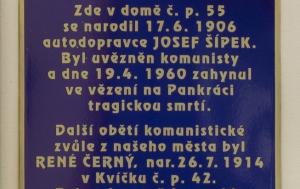 Slaný. Pamětní deska René Černému a Josefu Šípkovi